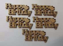 wooden craft HAPPY BIRTHDAY   shapes, laser cut 3mm mdf embellishments